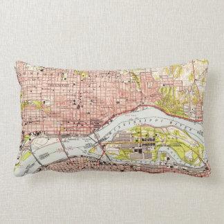 Vintage Map of Davenport Iowa (1953) Lumbar Pillow