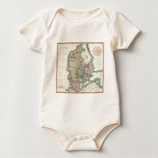 Vintage Map of Denmark (1801) Baby Bodysuit