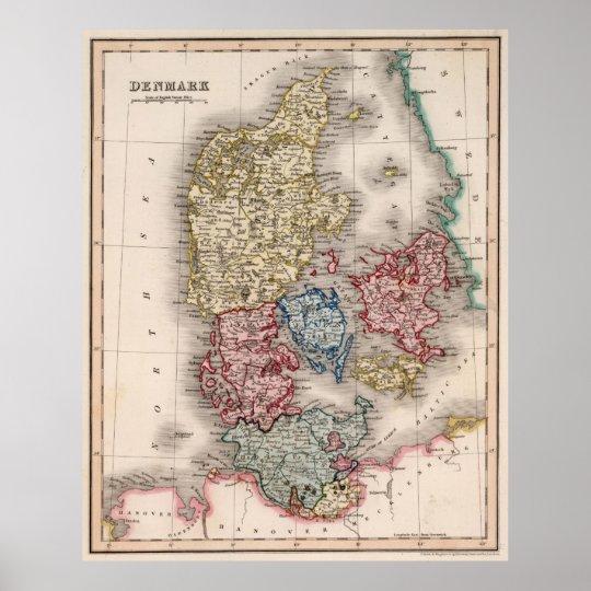 Vintage Map of Denmark (1838) Poster