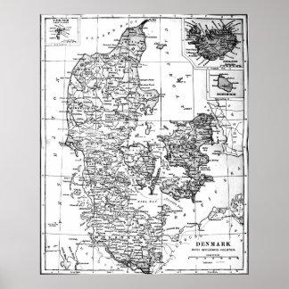 Vintage Map of Denmark (1905) BW Poster