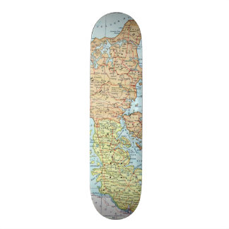 Vintage Map of Denmark (1905) Skateboard