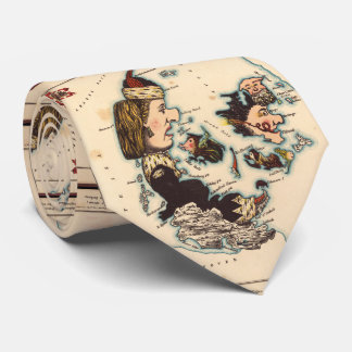 Vintage Map of Denmark with Illustrations (1868) Tie