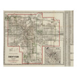 Vintage Map of Denver Colorado (1920) Poster
