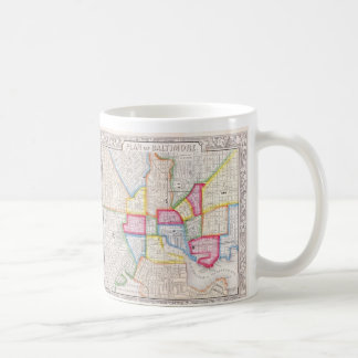 Vintage Map of Downtown Baltimore (1860) Coffee Mug