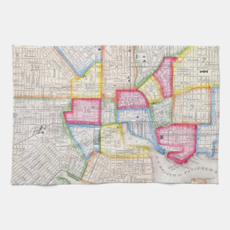 Vintage Map of Downtown Baltimore (1860) Kitchen Towel