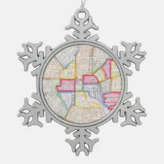 Vintage Map of Downtown Baltimore (1860) Snowflake Pewter Christmas Ornament
