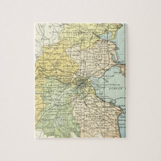 Vintage Map of Dublin and Surrounding Areas (1900) Jigsaw Puzzle