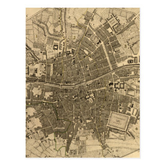 Vintage Map of Dublin Ireland 1797 Postcards