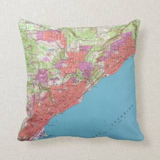 Vintage Map of Duluth Minnesota (1953) Throw Pillow