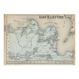 Vintage Map of East Hampton New York (1873) Poster