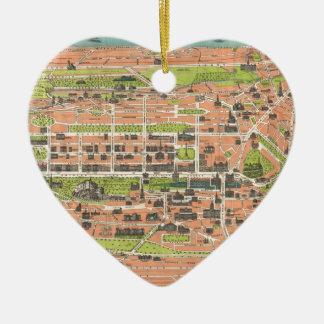 Vintage Map of Edinburgh Scotland (1935) Ceramic Heart Ornament