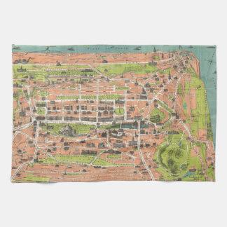 Vintage Map of Edinburgh Scotland (1935) Hand Towels