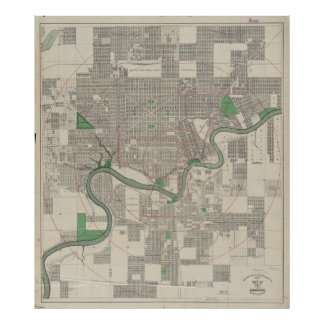 Vintage Map of Edmonton Canada (1912) Poster