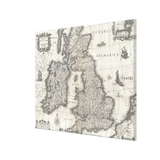 Vintage Map of England and Ireland (1631) Canvas Print