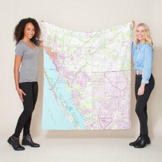 Vintage Map of Englewood & Grove City FL (1956) Fleece Blanket
