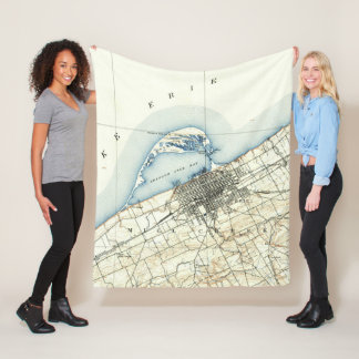 Vintage Map of Erie Pennsylvania (1899) Fleece Blanket