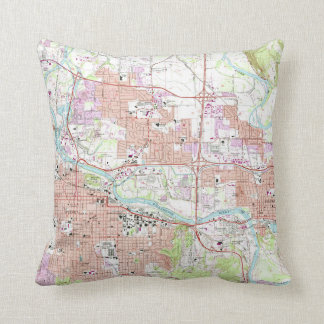 Vintage Map of Eugene Oregon (1967) Throw Pillow