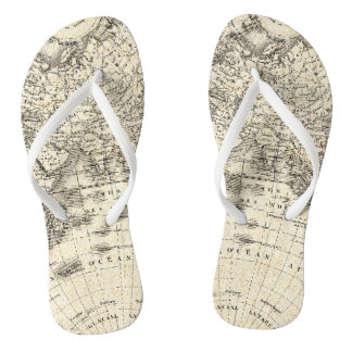 Vintage Map Of Europe and Asia Flip Flops
