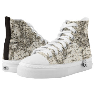 Vintage Map Of Europe and Asia High Tops