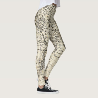 Vintage Map Of Europe and Asia Leggings