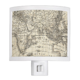 Vintage Map Of Europe and Asia Nite Lights