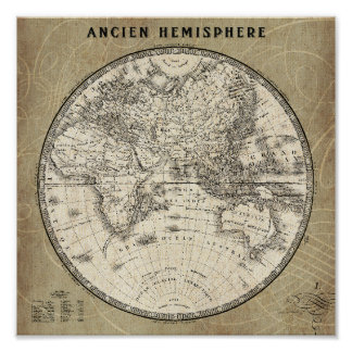 Vintage Map Of Europe and Asia Poster