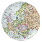 Vintage map of Europe colourful pastels Plate