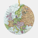 Vintage map of Europe colourful pastels Round Ceramic Ornament