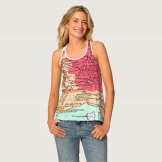 Vintage map of Europe Pattern in Coral and Mint Tank Top