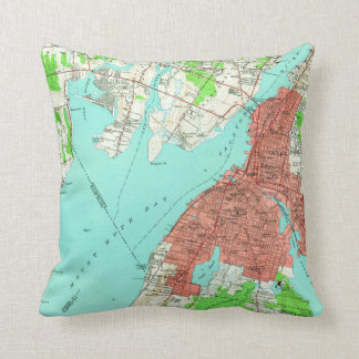 Vintage Map of Fall River Massachusetts (1949) Throw Pillow