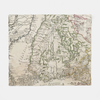 Vintage Map of Finland (1740s) Fleece Blanket
