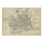 Vintage Map of Florence Italy (1835) Poster