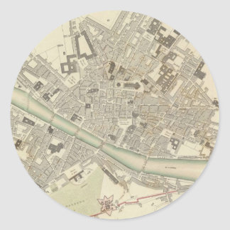 Vintage Map of Florence Italy (1835) Round Sticker