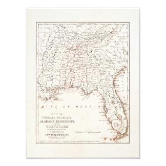 Vintage Map of Florida Alabama Georgia Mississippi Photo Print