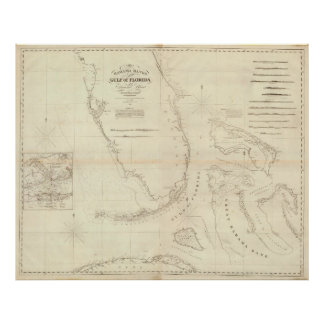 Vintage Map of Florida and The Bahamas (1827) Poster