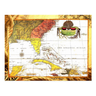 Vintage Map of Florida and The Caribbean Postcard