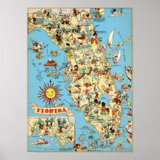 Vintage Map of Florida Poster