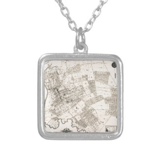 Vintage map of Flushing 1894 Silver Plated Necklace