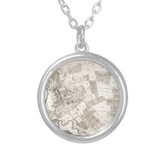 Vintage map of Flushing New York 1894 Silver Plated Necklace