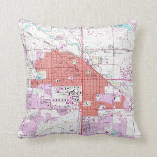 Vintage Map of Fort Collins Colorado (1960) Throw Pillow