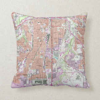 Vintage Map of Fort Worth Texas (1955) 2 Throw Pillow