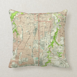 Vintage Map of Fort Worth Texas (1955) Throw Pillow