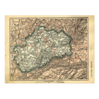 Vintage map of France, Seine Haute Postcard