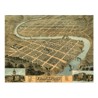 Vintage Map of Frankfort Kentucky Postcard
