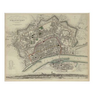 Vintage Map of Frankfurt Germany (1837) Poster