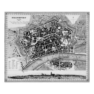 Vintage Map of Frankfurt Germany (1845) BW Poster