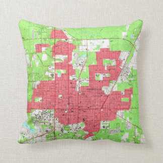 Vintage Map of Gainesville Florida (1966) 2 Throw Pillow