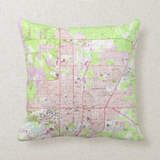 Vintage Map of Gainesville Florida (1966) Throw Pillow