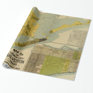 Vintage Map of Galveston Texas (1891) Wrapping Paper