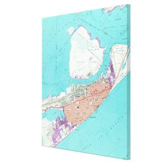 Vintage Map of Galveston Texas (1954) 2 Canvas Print